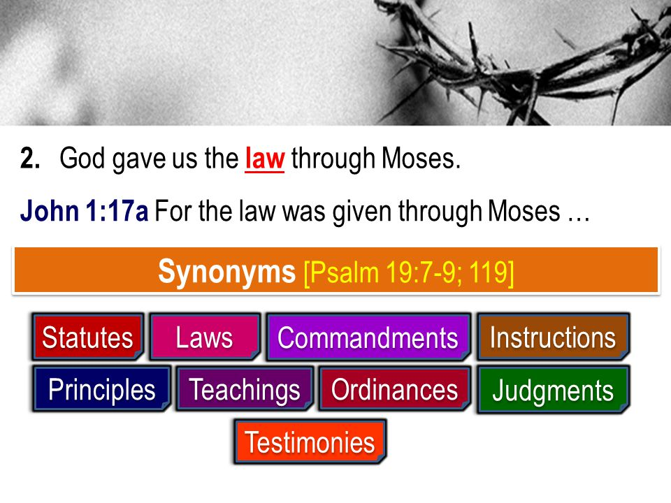 Synonyms [Psalm 19:7-9; 119] 2. God gave us the law through Moses.